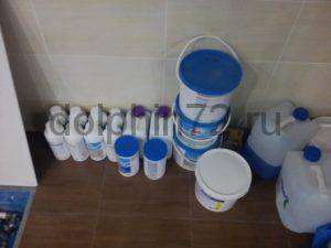 Комплект химии (активного кислорода) для частного бассейна на год обслуживания