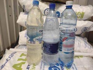 Слева исходная вода. Посередине техническая. Справа питьевая.